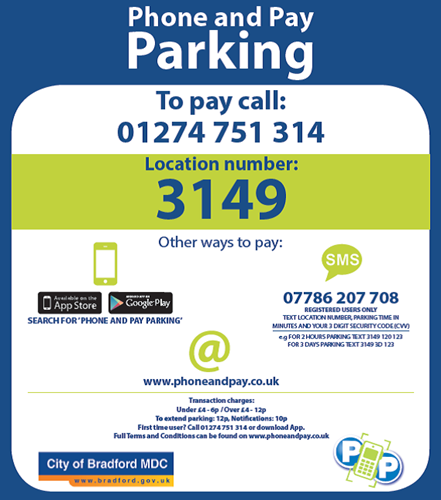 Example of a Phone and Pay Parking sticker
